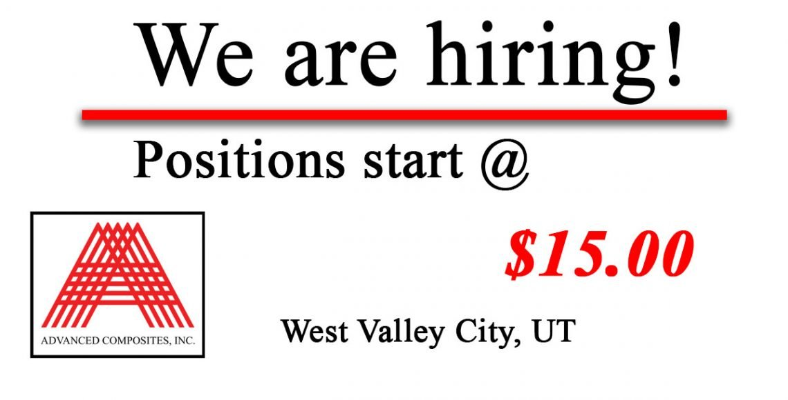 Open jobs and positions at Advanced Composites Salt Lake City Utah West Valley